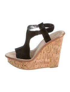 Elizabeth and James Suede Wedge Cork Heels Black Sandals