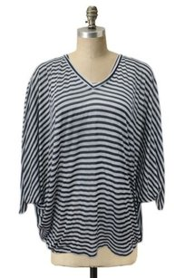 Elizabeth and James Striped Dolman Draped Oversize Orig Top lt blue navy white