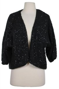 Ella Moss Womens Black Sequined Cardigan Open Front Sweater