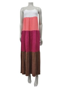 Multi-Color Maxi Dress by Ella Moss White Coral Magenta Brown Colorblock Maxi