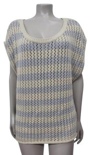 Ella Moss Striped Cable Knit Dolman Sleeve Scoop Neck Sweater