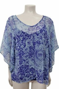 Ella Moss Regency Silk Floral Top Blue