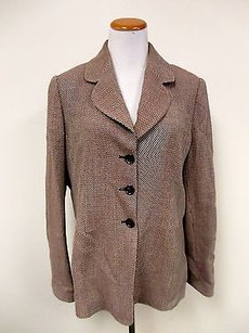 Ellen Tracy Ellen Tracy Brown White Wool Long Sleeve Lined Button Front Blazer Jacket J962