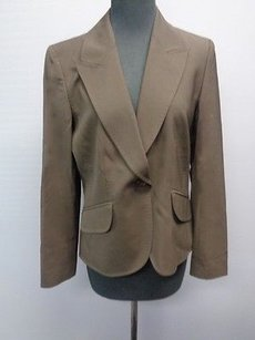 Ellen Tracy Ellen Tracy Chocolate Brown Wool Lined One Button Blazer Jacket Sm13945