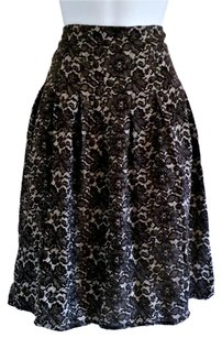 Ellen Tracy Lace Floral And White Midi Skirt Black