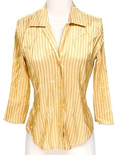 Ellen Tracy Silk Striped Button Down Shirt Gold