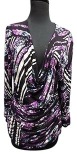 Ellen Tracy Black Stretchy Drape Neck Geometric Print Sma11991 Top Purple Black