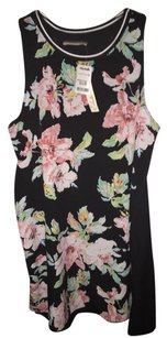 Elodie short dress Black/pink Floral Motif on Tradesy