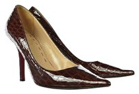 Emanuel Ungaro Womens Leather Heels Casual Brown Pumps