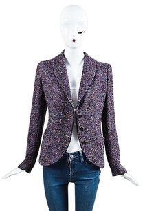 Emanuel Ungaro Vintage Emanuel Ungaro Parallele Purple Multicolor Wool Tweed Blazer Jacket