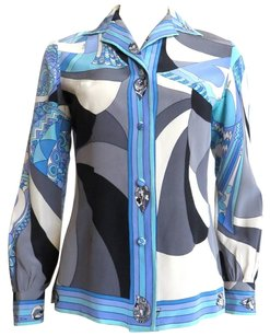Emilio Pucci Button Down Shirt Blues/White/Gray/Black