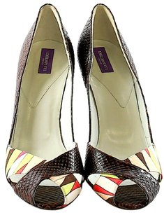 Emilio Pucci Peep Toe Snakeskin Color-blocking Pumps