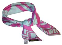 Emilio Pucci Emilio PUCCI hot pink / pale blue SILK SCARF 26 inches square w/greek key