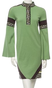 Emilio Pucci Green Print Wool Dress