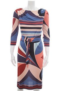 Emilio Pucci Pucci Blue Pink Coral Print 34 Sleeve Belted Silk Sheath Dress