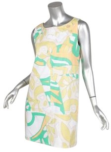 Emilio Pucci short dress Multi-Color Womens Green Print Cotton Sleeveless Shift on Tradesy