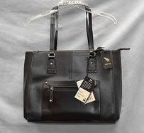 Emma Fox Leather Park Avenue Wlaptop Compartment Tote in Black