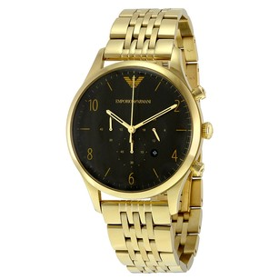 Emporio Armani Classic Black Dial Gold-tone Stainless Steel Men's Watch