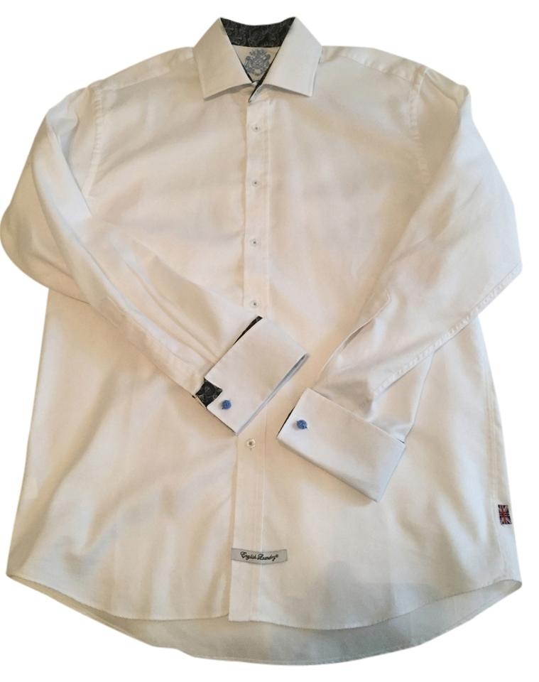 English laundry white mens dress shirt easily unisex for Mens white button down dress shirts