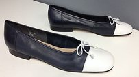 Enzo Angiolini Navy Leather With White Toe Cap Bow Top B3443 Blue Flats