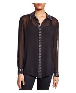 Equipment Silk Boyfriend Sheer Top Black