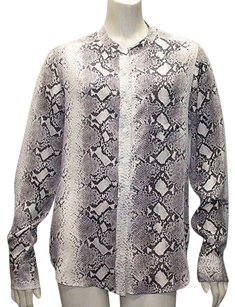 Equipment Gray 100 Silk Snakeskin Print Button Front Hs229 Top Multi-Color