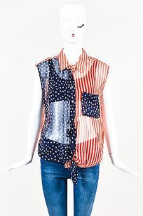 Equipment Red White Blue Silk Top Multi-Color