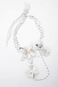 Erickson Beamon Erickson Beamon Womens White Flower Beaded Fabric Multi-chain Necklace Belt