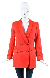 Escada Coral Pink Wool Double Black,Gold,Pink,Coral Jacket
