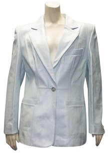 Escada Light Nappa Leather Button Front Hs836 Blue Jacket
