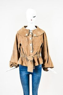 Escada Tan Goat Suede Leather Brown Jacket