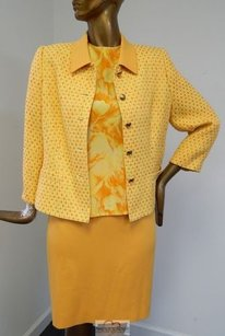 Escada Escada 3pc Yellow Orange Boucle Skirt Suit W Silk Blouse Italy