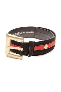 Escada Escada Black Red Suede Studded Buckle Belt Size 26
