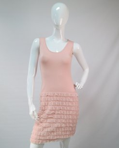 Escada Escada Light Pink Knit Dress W Matching Cardigan Ruffle Pearl Go Pink