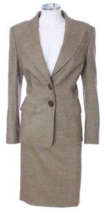 Escada Escada Metallic Brown New Wool Pencil Skirt Suit Set