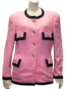 Escada Escada Pink 100 Wool Button Front Black Trimmed Jacket Blazer Hs1998