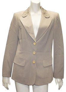 Escada Escada Taupe 100 Wool Button Front Blazer Jacket Coat Hs853