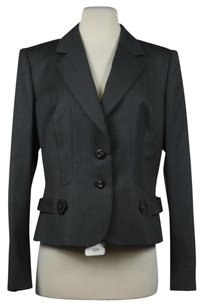 Escada Escada Womens Charcoal Blazer Wool Long Sleeve Career Basic Jacket