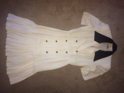 Escada short dress Off white / Navy / Gold color Sequin Nautical Anchor Vintage Pleated on Tradesy