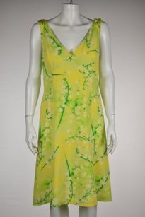 Escada Womens Floral Casual V Neck Sleeveless Sheath Dress