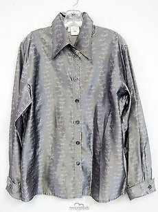 Escada Leaf Pattern Top Silver