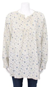 Eskandar White Blue Floral Print Linen Long Loose Sleeve Tunic 1012 Top Multi-Color