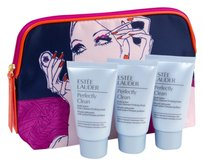Estée Lauder 3 Perfectly Clean Cleansers (travel size 1oz/30ml each) and Makeup Bag