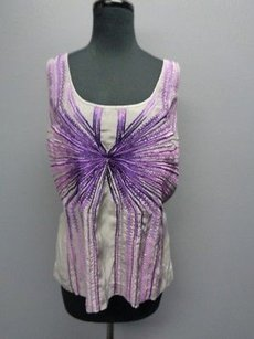 Etcetera Embroidered Scoop Neck Sma1015 Top Gray And Purple