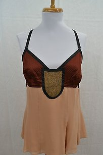 Etro Peach Brown Black Silk W Top Multi-Color