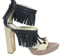 Etro Strappy Fringed Leather Pump Sandals Heels Black & Tan Platforms