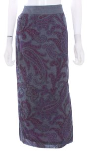 Etro Wool Paisley Italy Midcalf Lined Skirt Gray