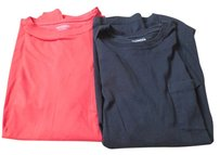 Express Cotton Short Sleeves Crew Neck Pocket T Shirt Black and Red