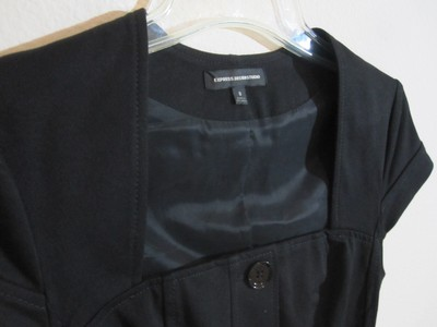 Express Short Sleeve New Look Belted Structured Stretchy Black Blazer