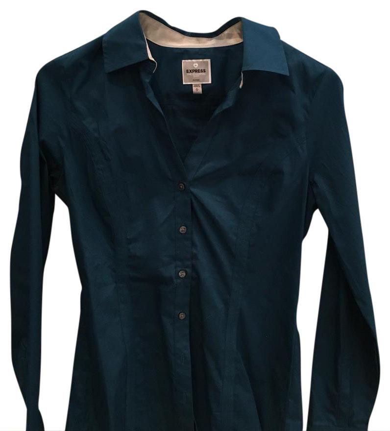 Express dark green/blue button up